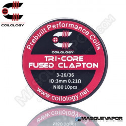 PERFORMANCE COIL TRI-CORE FUSED CLAPTON 3-26/36 PACK 10 COILS COILOLOGY