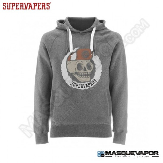 MAN SKULL GRAY SWEATSHIRT SUPERVAPERS SIZE: M