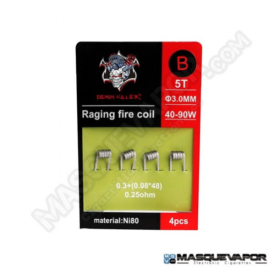 PACK 4 COILS DEMON KILLER RAGING FIRE NI80 0.25OHM