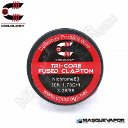 SPOOL WIRE TRI-CORE FUSED CLAPTON Ni80 3-28/36 COILOLOGY